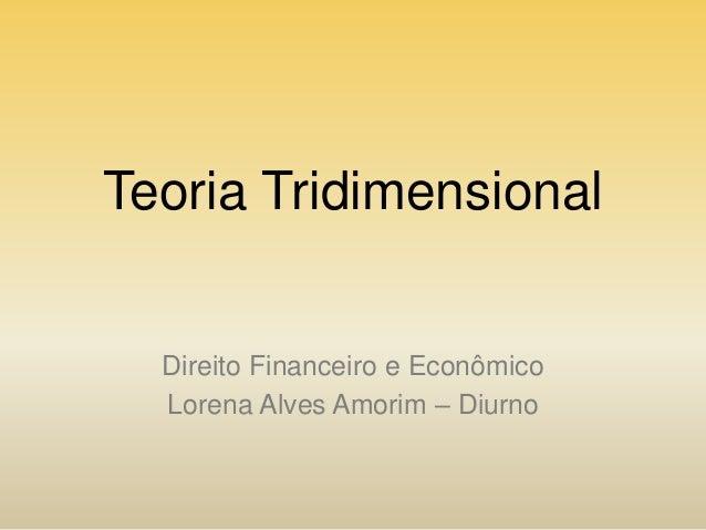 Teoria Tridimensional  Direito Financeiro e Econômico Lorena Alves Amorim – Diurno