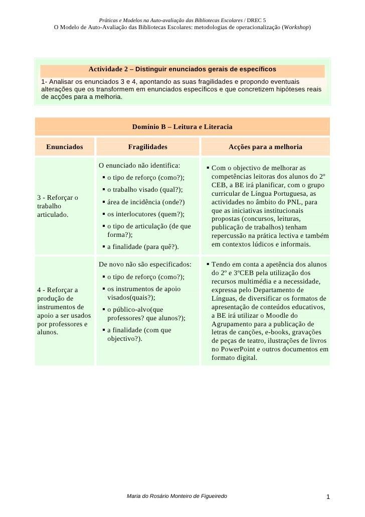 Práticas e Modelos na Auto-avaliação das Bibliotecas Escolares / DREC 5      O Modelo de Auto-Avaliação das Bibliotecas Es...