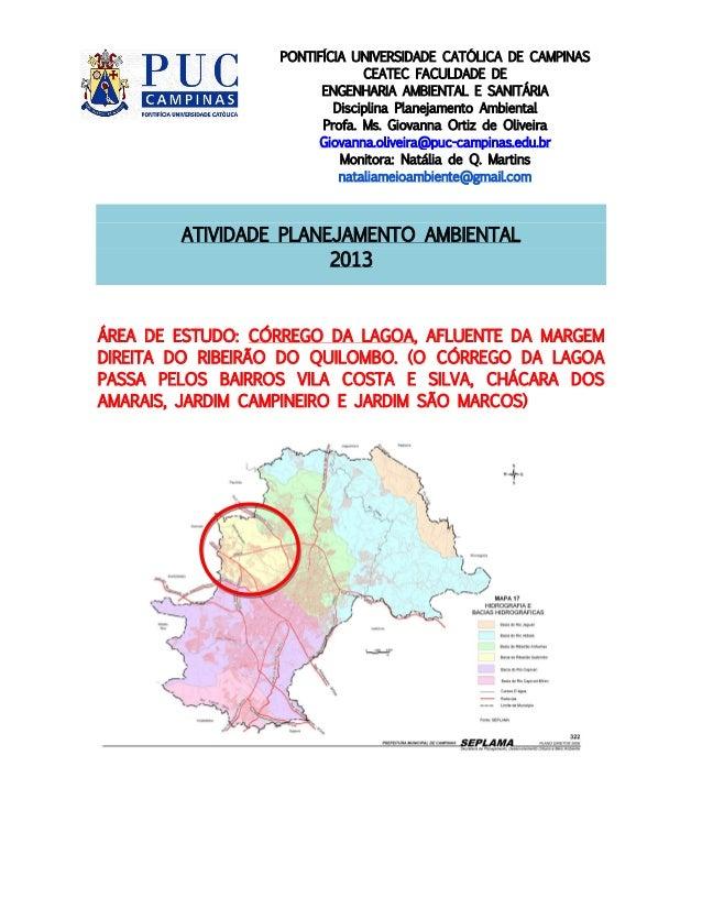PONTIFÍCIA UNIVERSIDADE CATÓLICA DE CAMPINAS CEATEC FACULDADE DE ENGENHARIA AMBIENTAL E SANITÁRIA Disciplina Planejamento ...