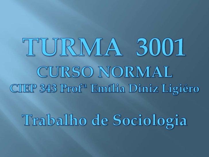 TURMA  3001<br />CURSO NORMAL<br />CIEP 343 Profª Emília Diniz Ligiéro<br />Trabalho de Sociologia<br />
