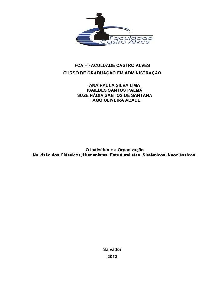 FCA – FACULDADE CASTRO ALVES              CURSO DE GRADUAÇÃO EM ADMINISTRAÇÃO                         ANA PAULA SILVA LIMA...