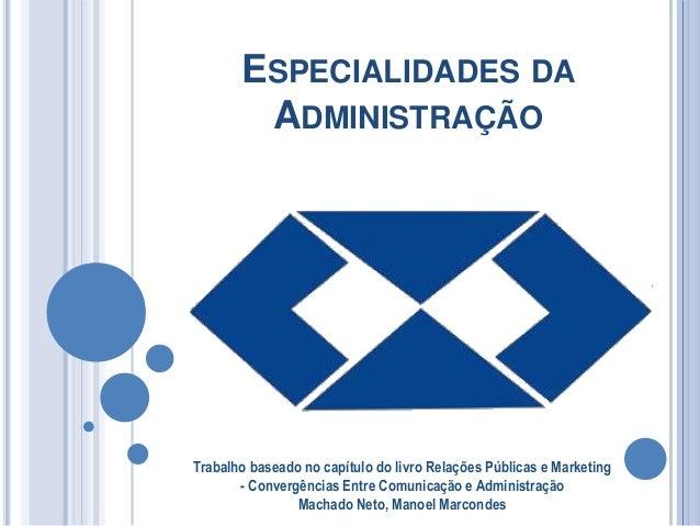 ESPECIALIDADES DA ADMINISTRAÇÃO Trabalho baseado no capítulo do livro Relações Públicas e Marketing - Convergências Entre ...