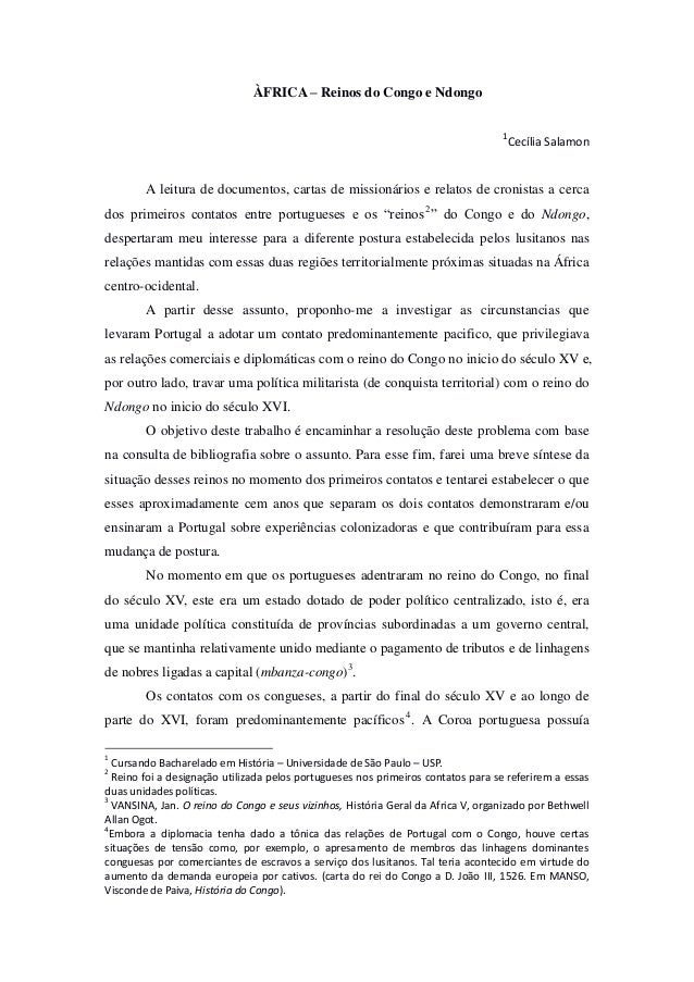 ÀFRICA – Reinos do Congo e Ndongo 1  Cecília Salamon  A leitura de documentos, cartas de missionários e relatos de cronist...