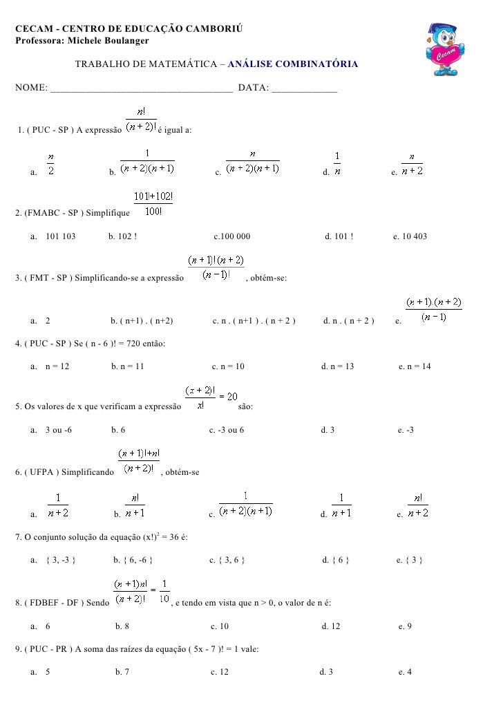 Trabalho análise combinatória