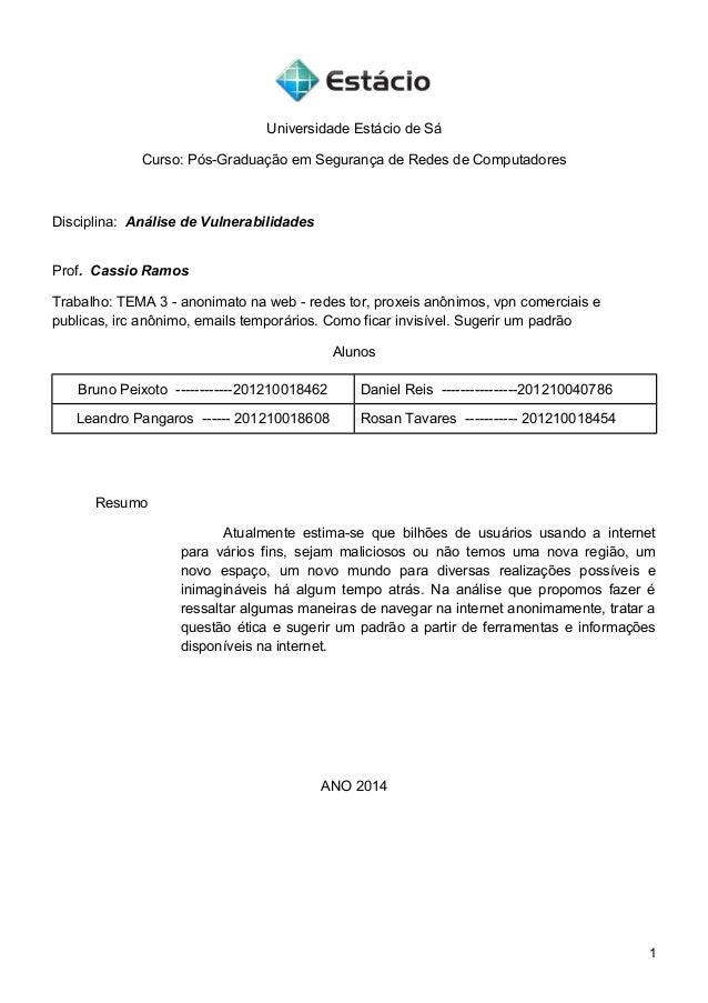 Universidade Estácio de Sá Curso: Pós-Graduação em Segurança de Redes de Computadores Disciplina: Análise de Vulnerabilida...
