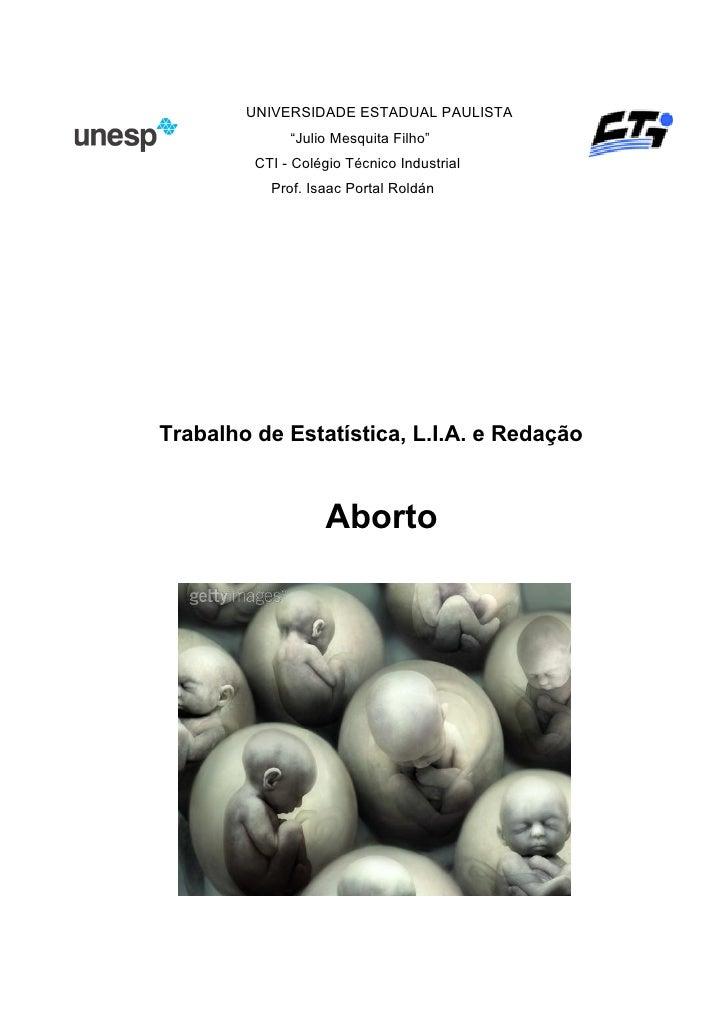 """UNIVERSIDADE ESTADUAL PAULISTA               """"Julio Mesquita Filho""""          CTI - Colégio Técnico Industrial            P..."""