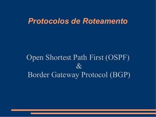 Protocolos de Roteamento  Open Shortest Path First (OSPF) & Border Gateway Protocol (BGP)