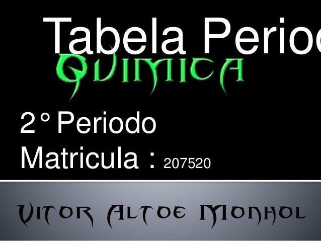 Tabela Periodica  2° Periodo  Matricula : 207520