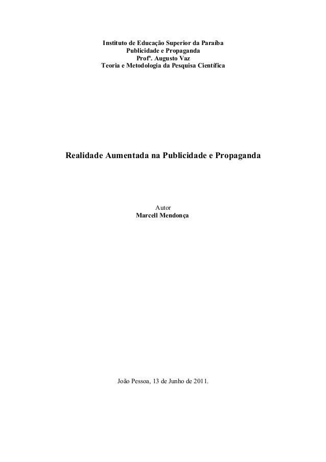Instituto de Educação Superior da Paraíba                 Publicidade e Propaganda                     Profº. Augusto Vaz ...