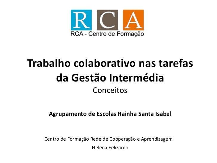 Trabalho colaborativo nas tarefas     da Gestão Intermédia                      Conceitos    Agrupamento de Escolas Rainha...