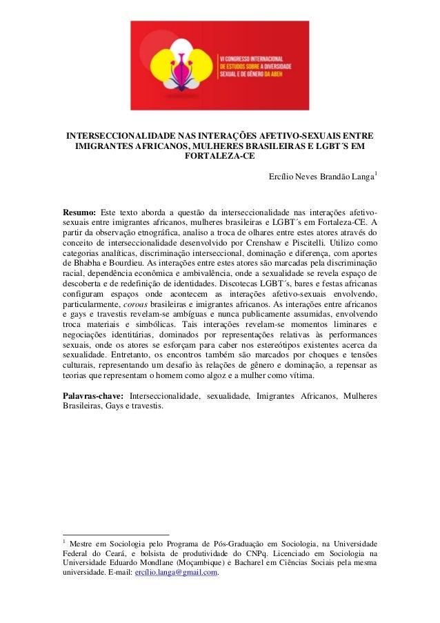 INTERSECCIONALIDADE NAS INTERAÇÕES AFETIVO-SEXUAIS ENTRE IMIGRANTES AFRICANOS, MULHERES BRASILEIRAS E LGBT´S EM FORTALEZA-...