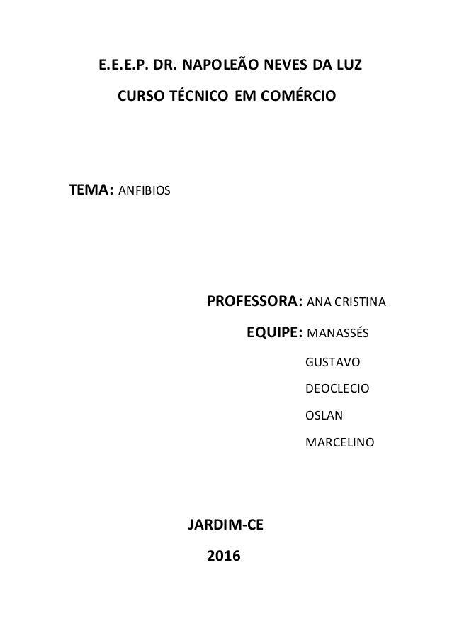 E.E.E.P. DR. NAPOLEÃO NEVES DA LUZ CURSO TÉCNICO EM COMÉRCIO TEMA: ANFIBIOS PROFESSORA: ANA CRISTINA EQUIPE: MANASSÉS GUST...
