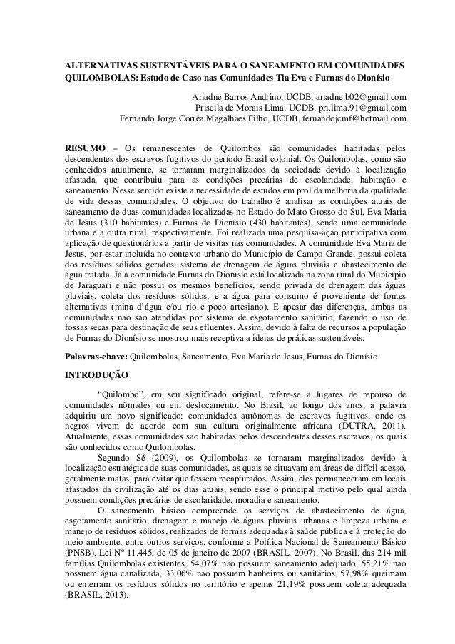 ALTERNATIVAS SUSTENTÁVEIS PARA O SANEAMENTO EM COMUNIDADES QUILOMBOLAS: Estudo de Caso nas Comunidades Tia Eva e Furnas do...