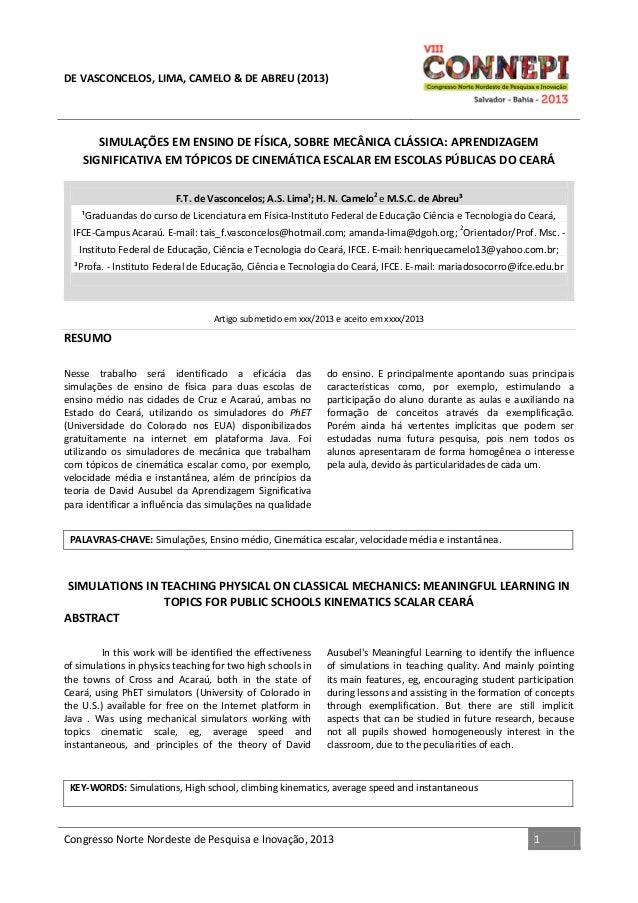 DE VASCONCELOS, LIMA, CAMELO & DE ABREU (2013)  SIMULAÇÕES EM ENSINO DE FÍSICA, SOBRE MECÂNICA CLÁSSICA: APRENDIZAGEM SIGN...