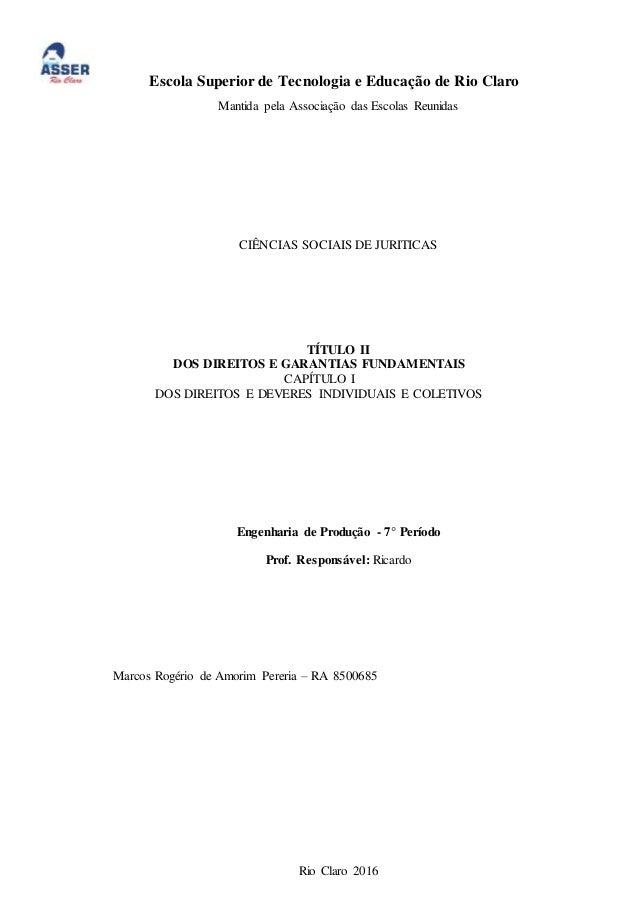 Escola Superior de Tecnologia e Educação de Rio Claro Mantida pela Associação das Escolas Reunidas CIÊNCIAS SOCIAIS DE JUR...