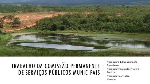 TRABALHO DA COMISSÃO PERMANENTE DE SERVIÇOS PÚBLICOS MUNICIPAIS Vereadora Edna Sarmento – Presidente Vereador Fernandes Vi...