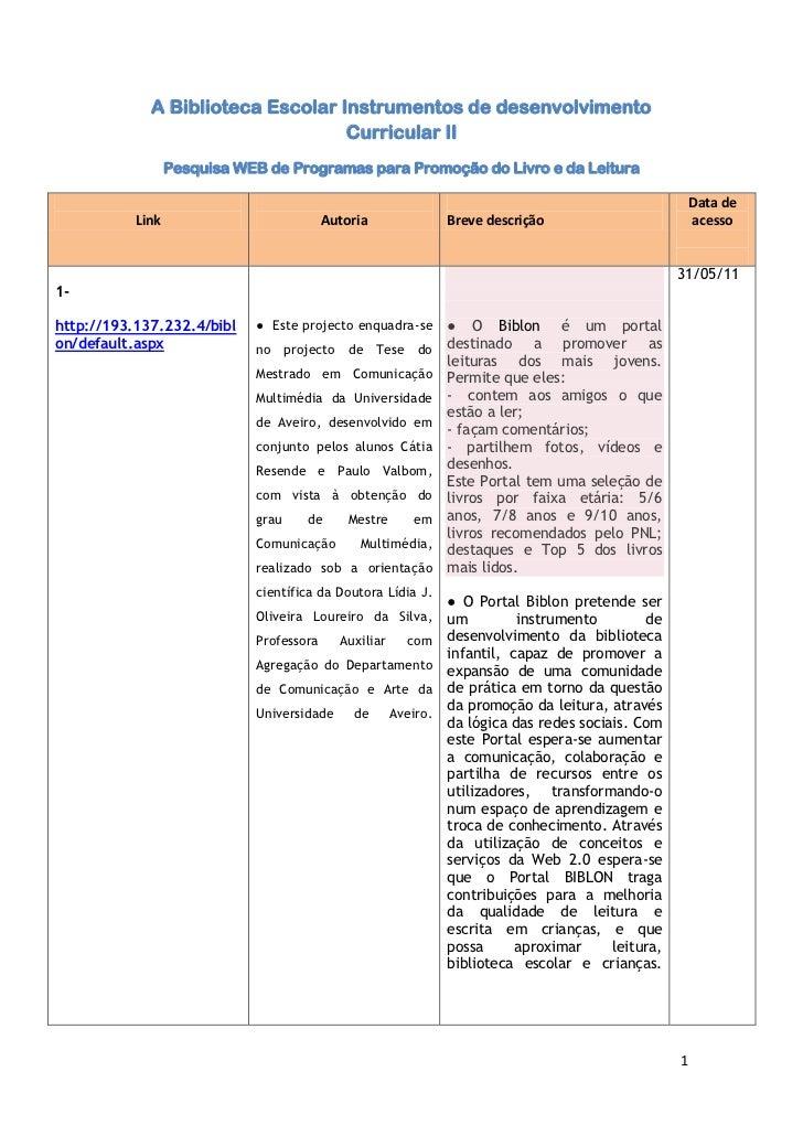 A Biblioteca Escolar Instrumentos de desenvolvimento Curricular II<br />Pesquisa WEB de Programas para Promoção do Livro e...