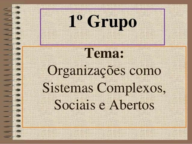 1º Grupo  Tema:  Organizações como  Sistemas Complexos,  Sociais e Abertos