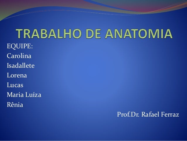 EQUIPE: Carolina Isadallete Lorena Lucas Maria Luíza Rênia Prof.Dr. Rafael Ferraz