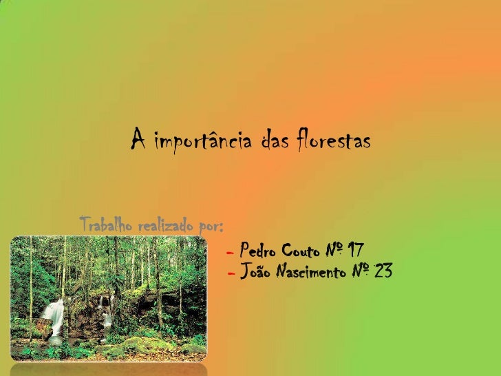 A importância das florestas<br />Trabalho realizado por: <br />- Pedro Couto Nº 17                      -João Nascimento...