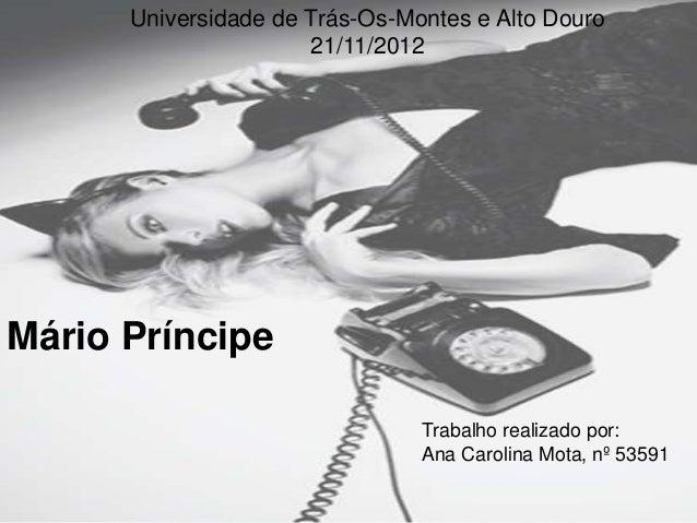 Universidade de Trás-Os-Montes e Alto Douro                      21/11/2012Mário Príncipe                                T...