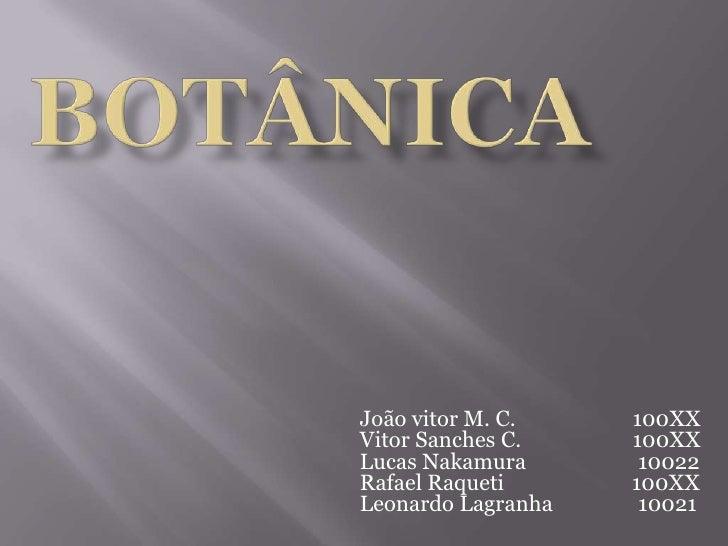 Botânica <br />João vitor M. C.                      100XXVitor Sanches C.                     100XXLucas Nakamura        ...