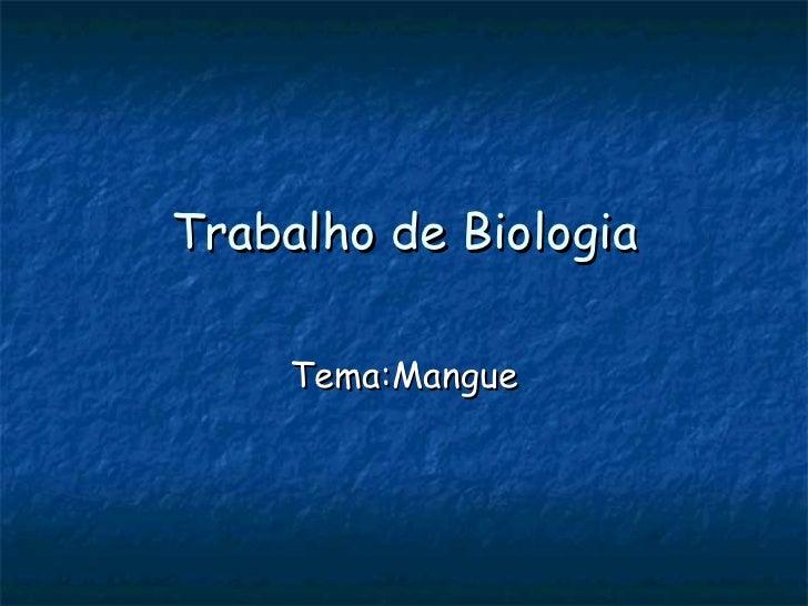 Trabalho de Biologia Tema:Mangue