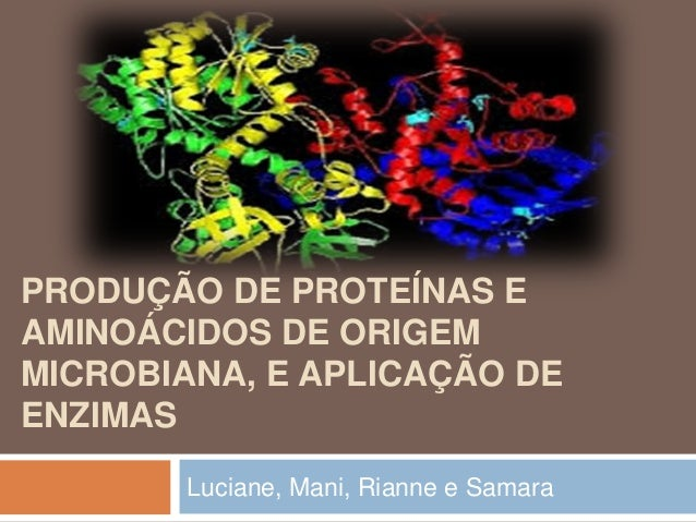 PRODUÇÃO DE PROTEÍNAS E AMINOÁCIDOS DE ORIGEM MICROBIANA, E APLICAÇÃO DE ENZIMAS Luciane, Mani, Rianne e Samara