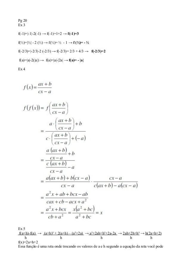 Pg 20Ex 3f(-1)=|-1|-2(-1) → f(-1)=1+2 → f(-1)=3f(½)=|½| - 2 (½) → f(½)= ½ - 1 → f (½)= - ½f(-2/3)=|-2/3|-2 (-2/3) → f(-2/3...