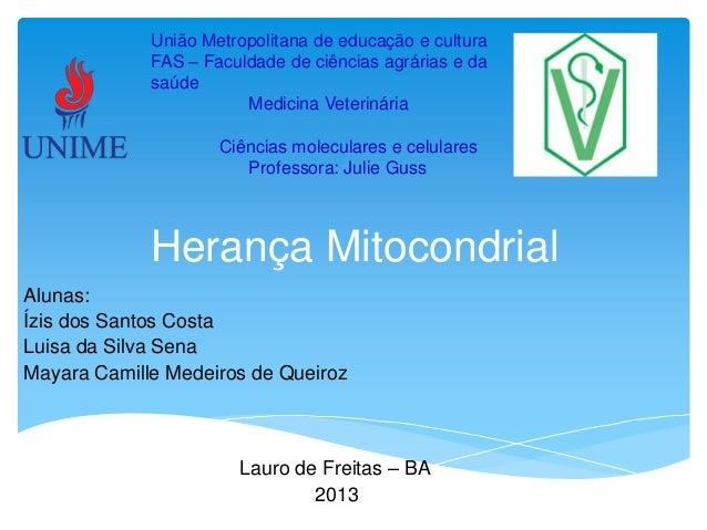 União Metropolitana de educação e cultura FAS – Faculdade de ciências agrárias e da saúde Medicina Veterinária Ciências mo...
