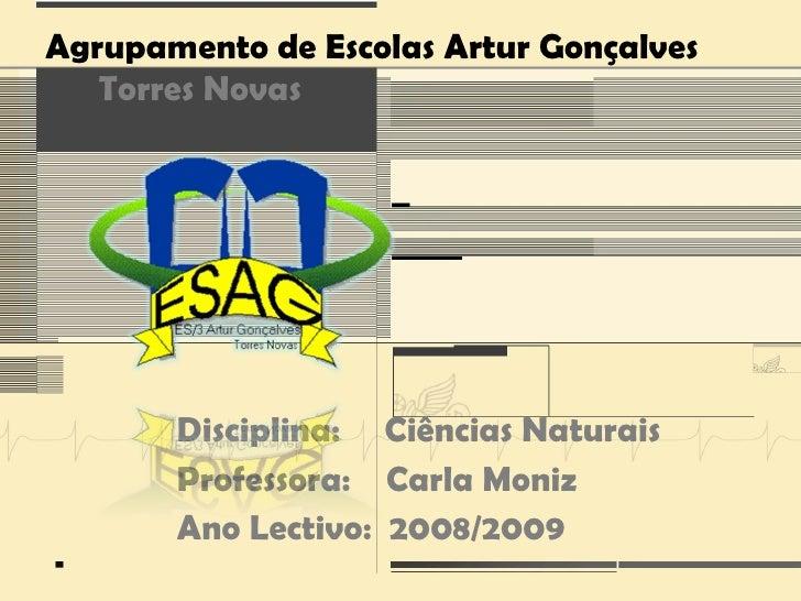 Agrupamento de Escolas Artur Gonçalves    Torres Novas            Disciplina: Ciências Naturais        Professora: Carla M...