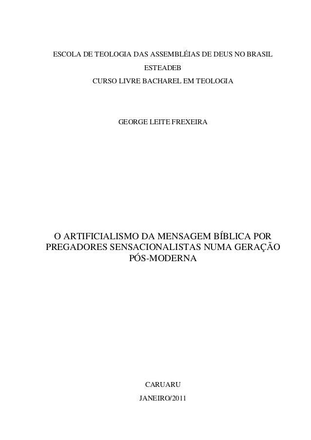 ESCOLA DE TEOLOGIA DAS ASSEMBLÉIAS DE DEUS NO BRASIL ESTEADEB CURSO LIVRE BACHAREL EM TEOLOGIA GEORGE LEITE FREXEIRA O ART...