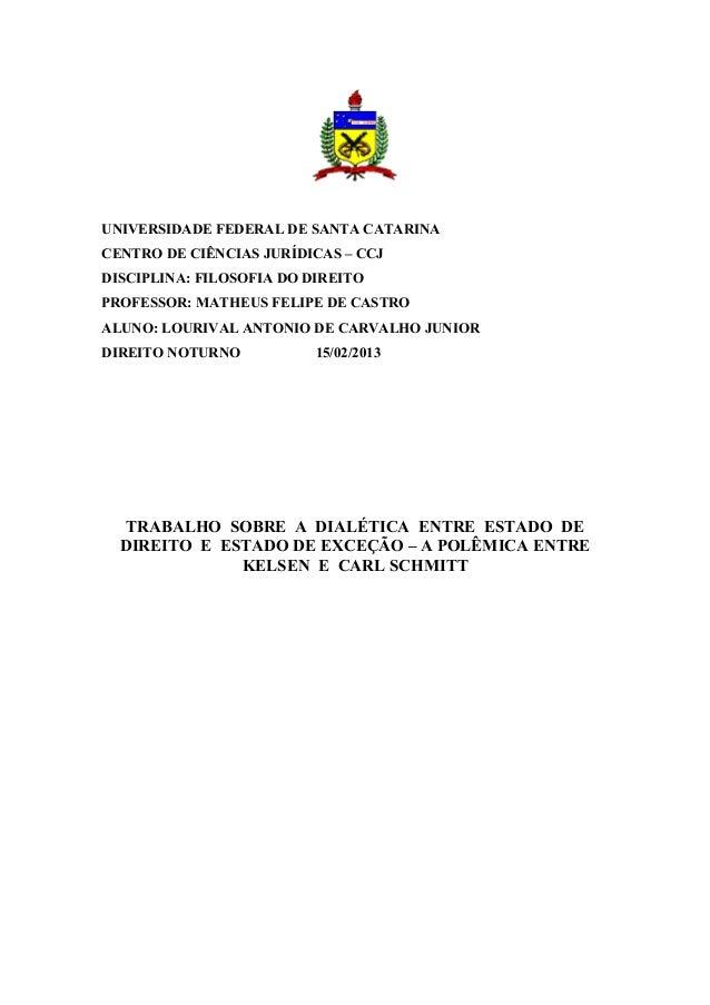 UNIVERSIDADE FEDERAL DE SANTA CATARINACENTRO DE CIÊNCIAS JURÍDICAS – CCJDISCIPLINA: FILOSOFIA DO DIREITOPROFESSOR: MATHEUS...