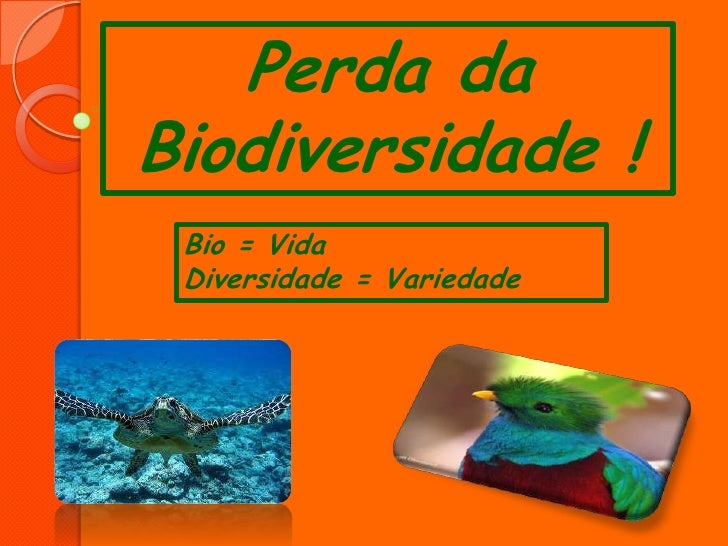 Perda daBiodiversidade ! Bio = Vida Diversidade = Variedade
