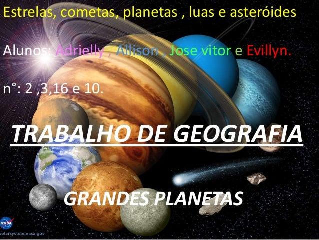 Estrelas, cometas, planetas , luas e asteróides.Alunos: Adrielly , Allison , Jose vitor e Evillyn.n°: 2 ,3,16 e 10.TRABALH...