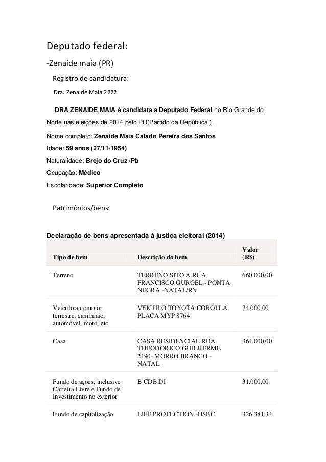 Deputado federal: -Zenaide maia (PR) Registro de candidatura: Dra. Zenaide Maia 2222 DRA ZENAIDE MAIA é candidata a Deputa...