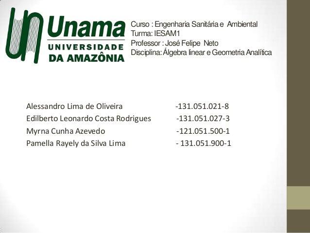 Curso : Engenharia Sanitária e Ambiental Turma:IESAM1 Professor: José Felipe Neto Disciplina: Álgebra linear e GeometriaAn...