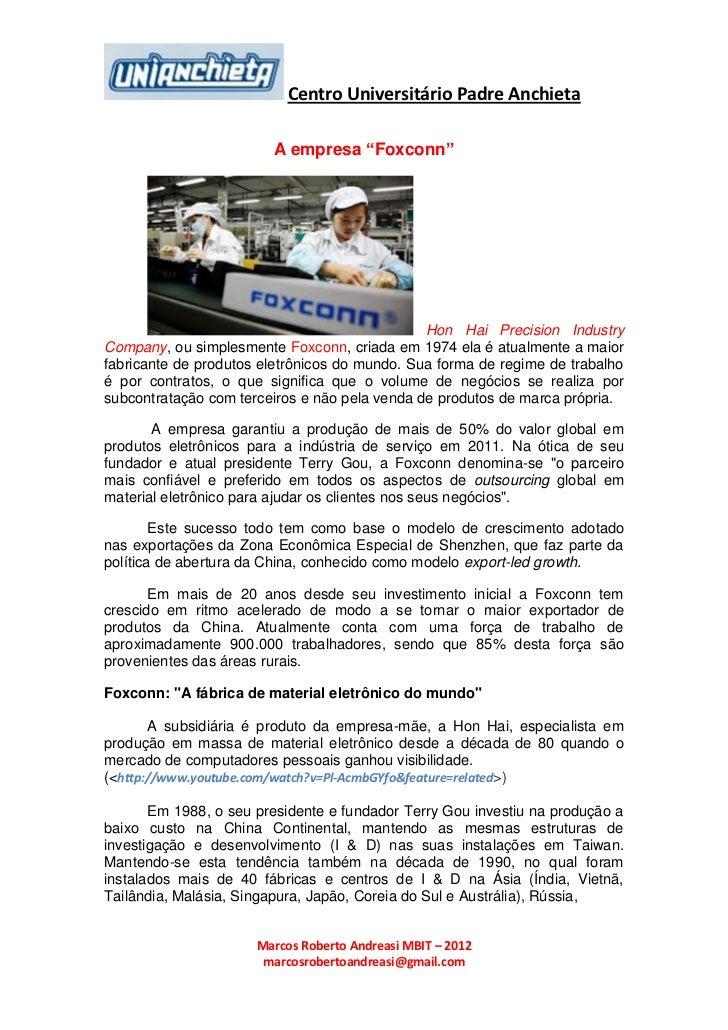 """Centro Universitário Padre Anchieta                        A empresa """"Foxconn""""                                            ..."""
