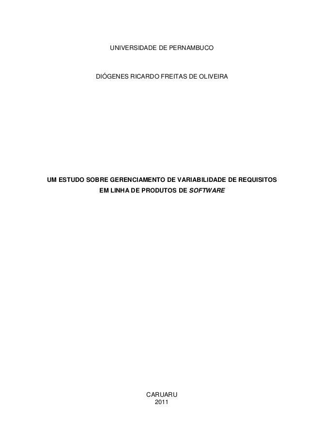 UNIVERSIDADE DE PERNAMBUCO            DIÓGENES RICARDO FREITAS DE OLIVEIRAUM ESTUDO SOBRE GERENCIAMENTO DE VARIABILIDADE D...