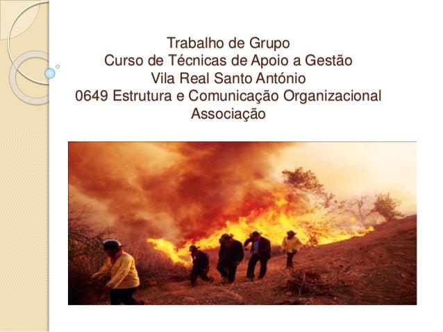Trabalho de Grupo Curso de Técnicas de Apoio a Gestão Vila Real Santo António 0649 Estrutura e Comunicação Organizacional ...