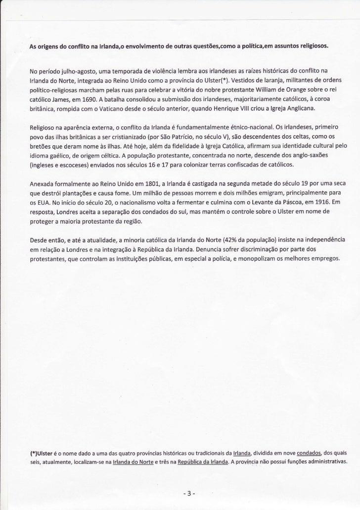 envolvimento outrasquestões,comopolítica,em As origens conflitona lrlanda,o          do                              de   ...