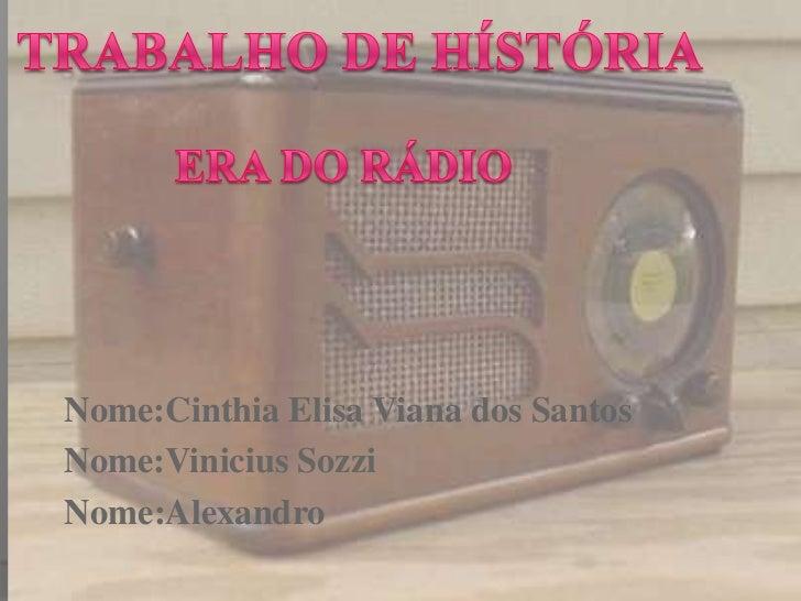 Nome:Cinthia Elisa Viana dos SantosNome:Vinicius SozziNome:Alexandro