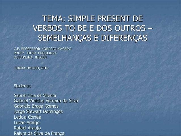 C.E. PROFESSOR HORACIO MACEDO PROFª JUDDY HOOLLIDAY DISCIPLINA: INGLÊS TURMA:HM1001/2014 Students: Gabriel Lima de Oliveir...