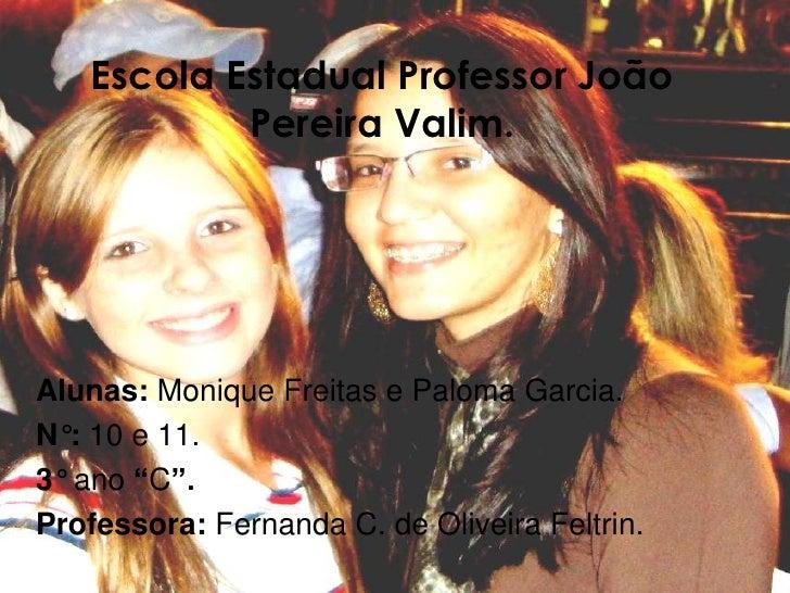 Escola Estadual Professor João            Pereira Valim.     Alunas: Monique Freitas e Paloma Garcia. N°: 10 e 11. 3° ano ...