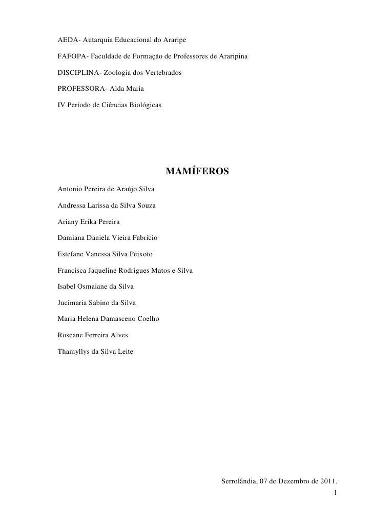 AEDA- Autarquia Educacional do AraripeFAFOPA- Faculdade de Formação de Professores de AraripinaDISCIPLINA- Zoologia dos Ve...