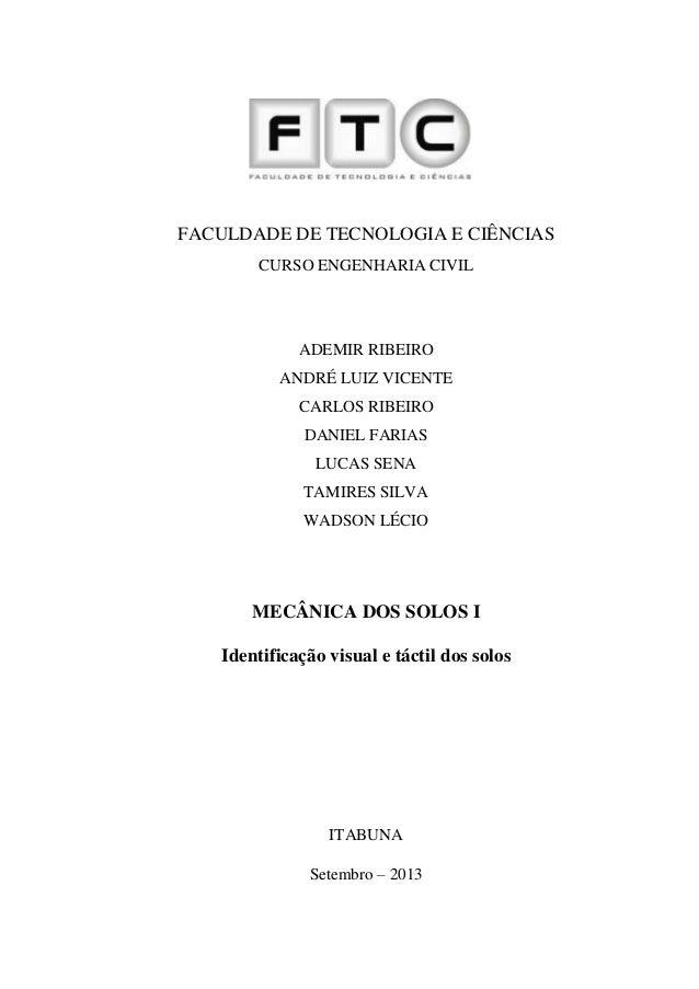 1 FACULDADE DE TECNOLOGIA E CIÊNCIAS CURSO ENGENHARIA CIVIL ADEMIR RIBEIRO ANDRÉ LUIZ VICENTE CARLOS RIBEIRO DANIEL FARIAS...