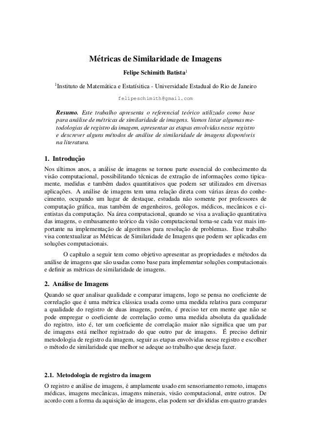 M´etricas de Similaridade de Imagens Felipe Schimith Batista1 1 Instituto de Matem´atica e Estat´ısitica - Universidade Es...