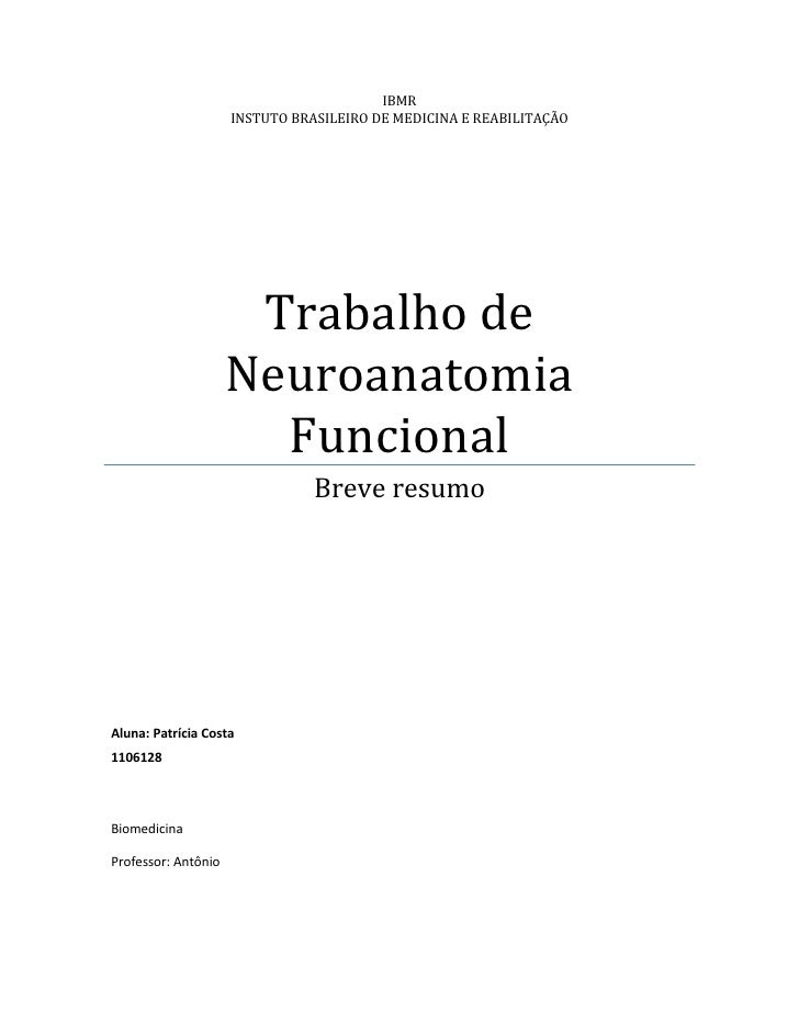 IBMR                     INSTUTO BRASILEIRO DE MEDICINA E REABILITAÇÃO                      Trabalho de                   ...