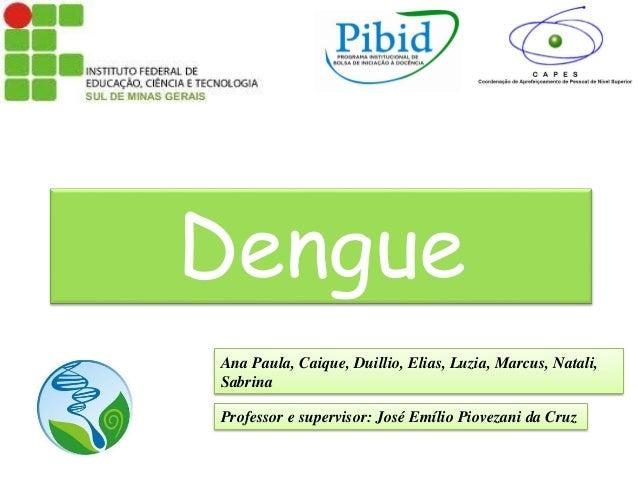 Dengue Ana Paula, Caique, Duillio, Elias, Luzia, Marcus, Natali, Sabrina Professor e supervisor: José Emílio Piovezani da ...