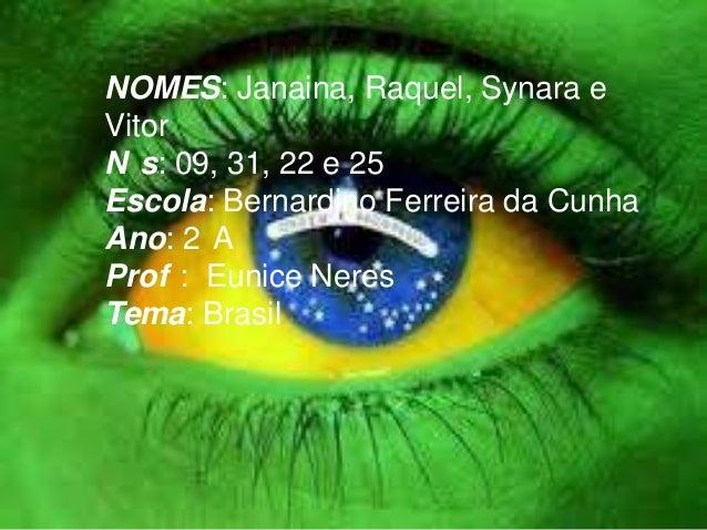 NOMES: Janaina, Raquel, Synara e Vitor N s: 09, 31, 22 e 25 Escola: Bernardino Ferreira da Cunha Ano: 2 A Prof : Eunice Ne...